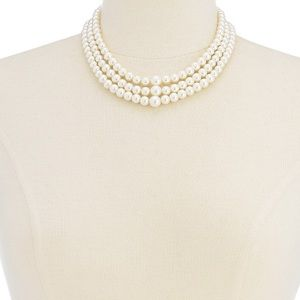 CHARTER CLUB 3 ROW SIMULATED  PEARL NECKLACE